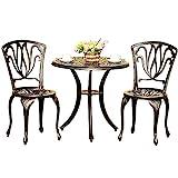 Conjunto Muebles de Jardín de Aluminio Fundido de 3 Piezas para Todo Clima con Orificio para Sombrilla, Juego de Muebles de Patio con Pies Ajustables Antideslizantes, Conjunto Mesa y Sillas Terraza