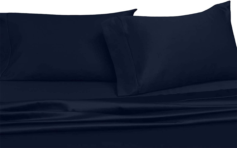 Sheetsnthings 100% Cotton Bed Sheet Set - 600TC, King Solid Navy - Soft, Deep Pocket, 4PC Sheets