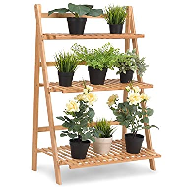 Giantex Plant Flower Stand Rack Shelf 3-Tier Bamboo Foldable Pot Racks Planter Organizer Display Shelves, 27.6  x15.7  x 38.2