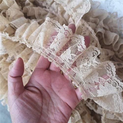 6 cm de ancho nuevo plisado 3D guipur encaje tela volantes adornos bordado flores cordón encaje franja cinta DIY costura apliques suministros, beige