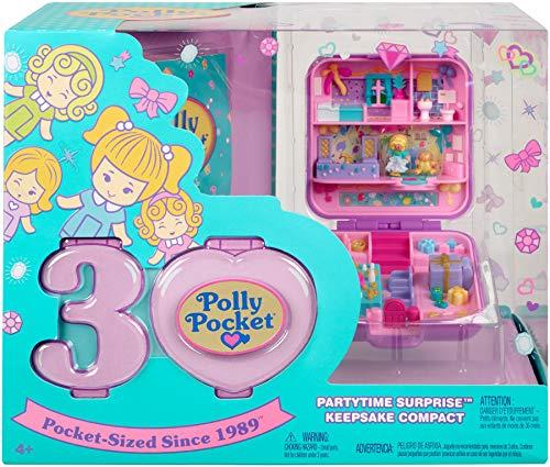 Polly Pocket - Maletín del 30 aniversario Partytime Surprise, muñeca con accesorios...