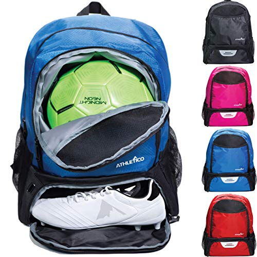 Athletico Youth Soccer Bag - Soccer Backpack & Bags for Basketball, Volleyball & Football | Includes Separate Cleat and Ball Compartments (Blue)