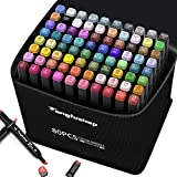 80 Colors Alcohol Markers, Double Tipped Brush & Chisel Art Markers, Sketch Coloring Illustration Pens with Case for Adult, Kids, Students, Beginner, 1 Alcohol Markers Blender and 1 Hook Line Pen