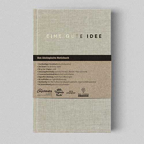 Eine gute Idee | A5 Hardcover Notizbuch mit Blanko Seiten | Klimaneutral und vegan produziert… (Natur)