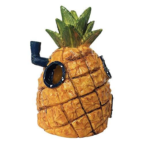 YCX Decoración del Acuario Pineapple House - Bob Esponja Calamardo Casa Hidout Crustáceo Crujiente Y Decoración - 3 Pack Bob Esponja Decoración del Acuario De Aqua Conjunto Adornos,Natural
