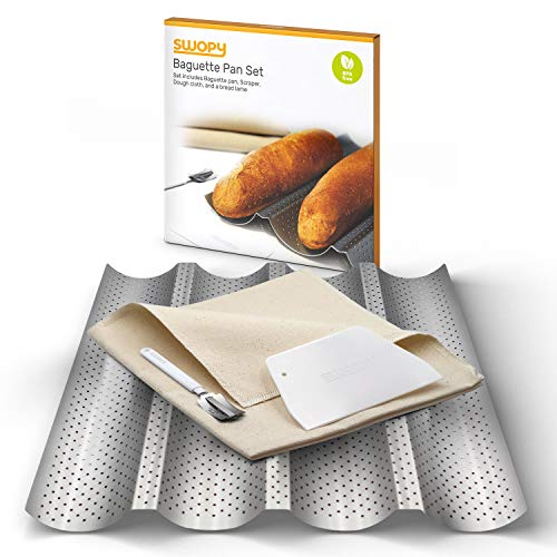 "Swopy Baguette Pan Nonstick Perforated 4 Wave Loaves Gutter 15"" X 13"" for French Bread Loaf Bake Mold Oven Toaster Baking Tray with Dough Cloth, Bread Lame, and Scraper, Made of Carbon Steel Silver."