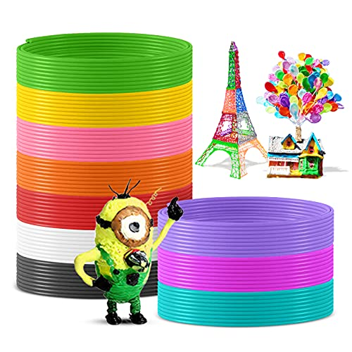 SUNLU PLA Ricariche a filamento per penna 3D da 1,75 mm, confezione da 10 diversi colori popolari (5 m ciascuno) per penna da stampa 3D