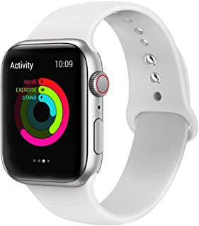 Ontube Bands Compatible with Apple Watch,Soft Silicone Adjustable Sport Replacement Straps for iWatch Series 4/3/2/1 (42MM/44MM, White)
