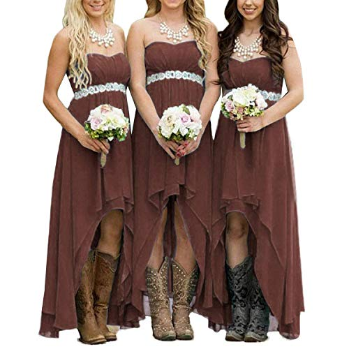 EUMI Chiffon Bridesmaid Dresses High Low Strapless Country Bridal Wedding Party Gowns, Brown 16
