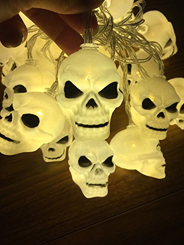 LJM 20 Led Halloween Battery Operated Powered Skull Scary Lights for Home Bar Decorations String Lights