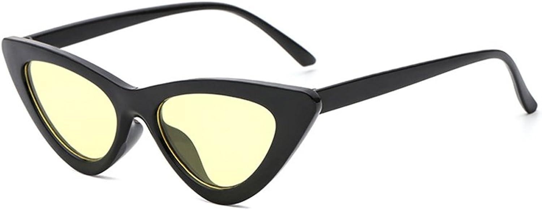 Moolo Sunglasses Women Cute Sexy Retro Cat Eye Black White Vintage Female UV400 Green Yellow bluee