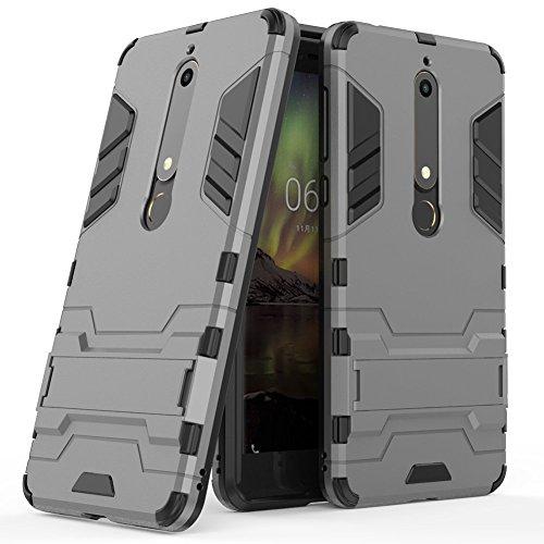 MAIKEZI Nokia 6.1 Case, Nokia 6 2018 Case, [Not suitable for Nokia 6] Dual Layer Armor Hard Slim Hybrid Kickstand Phone Cover Case for Nokia 6 2018 (Gray Kickstand Case)