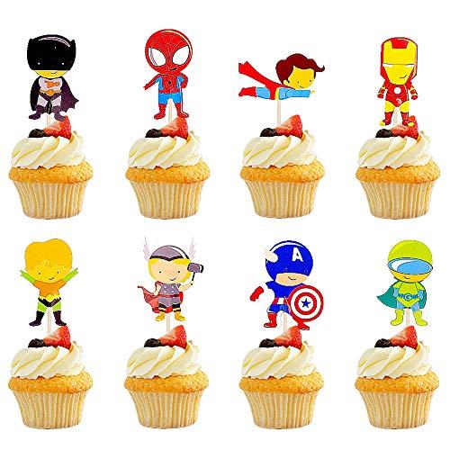 BESTZY 120pcs Die Rächer Batman Spider Man Geburtstag Cake Topper Übermensch Ironman Geburtstag Happy Brthday Thor Captain America Kuchendeko Tanzen Kuchen für Kinder
