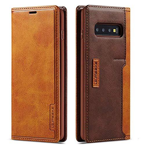 LCHULLE Lederhülle für Samsung Galaxy S8 Hülle Leder Flip Schutzhülle mit Kartenfach Leder Klapphülle ultradünn Brieftasche magnetische Ledertasche Handytasche Braun
