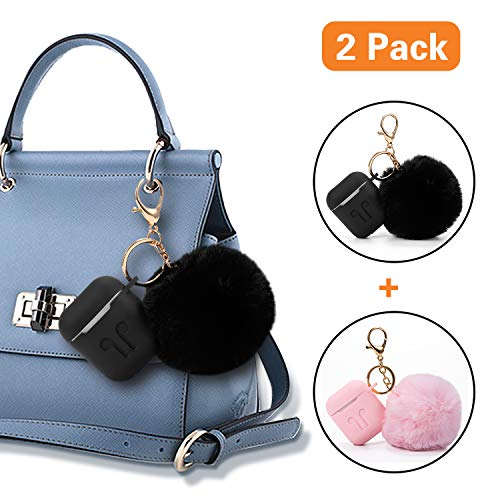 Compatible Airpods Case, Drop-Proof Silicone Airpods Protective Case Cover with Cute Faux Fur Ball Keychian, 9 In1 Airpods Accessories Kits by OUYZY