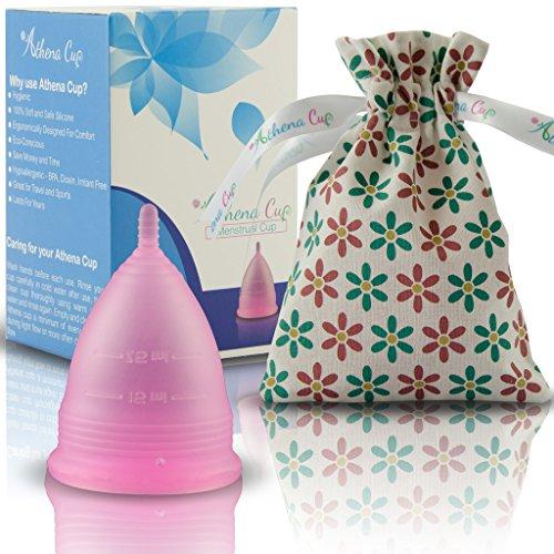 Athena Copa Menstrual – La copa menstrual más recomendada - Incluye una bolsa de regalo - Talla 2, Rosa transparente - ¡Ausencia de pérdidas garantizada!