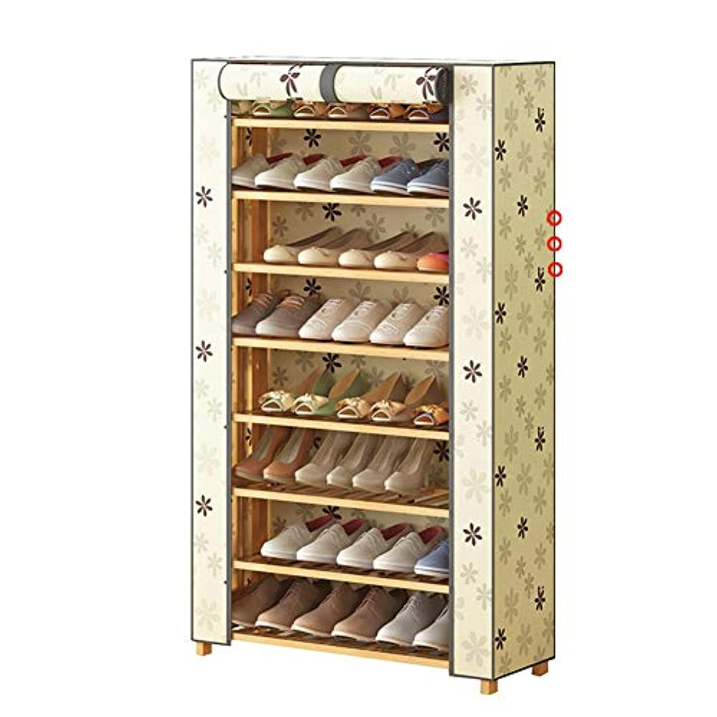 8-Tier Shoe Bamboo Rack with Oxford Cover, Shoe Storage Cabinet Organizer - Space Saving