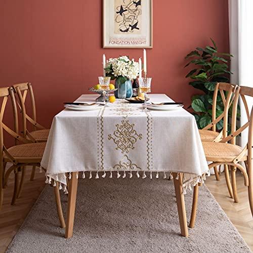 marca blanca Mantel cuadrado con textura tejida y fácil de limpiar, mesa decorativa 135 x 135