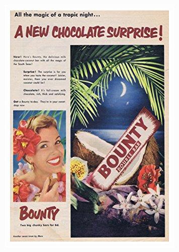 Bounty meisje links poster chocolade bar foto vintage oude reclame kunstwerk klassieke ouderwetse commerciële