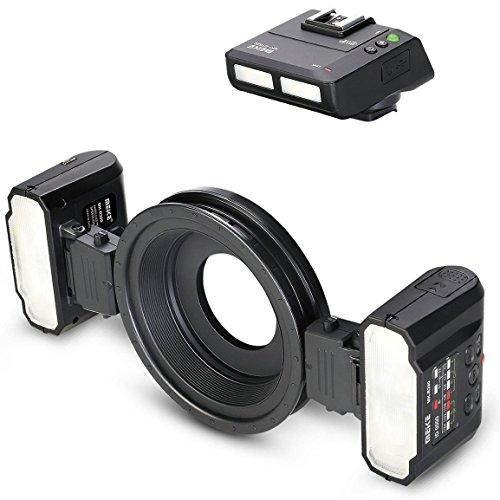 Meike Makroblitz Ringblitz Macro Twin Lite – für Sony Kameras mit Multi Interface Blitschuhanschluss – Automatische Blitzmessung TTL - MK-MT24