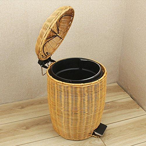 DUOER HOME Basura y Reciclaje Papeleras Tejido de Mimbre de bambú Doble Cubo de Basura baño Basura Basura Dormitorio Sala de Basura Cubos de Basura (tamaño : 3l-b)