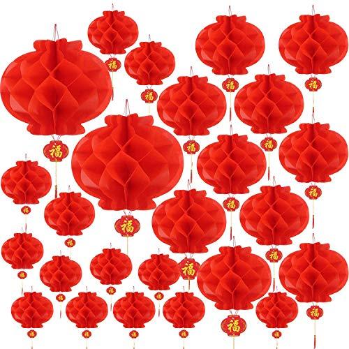 Heritan 30 unidades de varios tamaños chinos linternas chinas Año Nuevo chino linternas de papel rojo engrosadas encriptación linternas colgantes