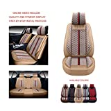 OASIS AUTO OS-007 Leather Car Seat Covers, Faux Leatherette Automotive Vehicle Cushion Cover for Cars SUV Pick-up Truck Universal Fit Set for Auto Interior Accessories (Full Set, Tan)