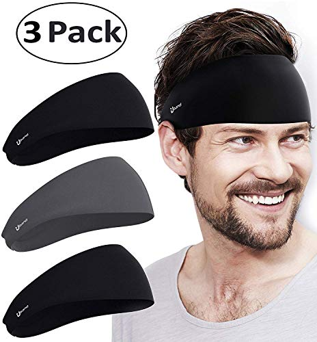 Self Pro Mens Headbands 3 Pack Guys Sweatband & Sports Headband for Running, Cross Training, Racquetball, Working Out - Performance Stretch & Moisture Wicking