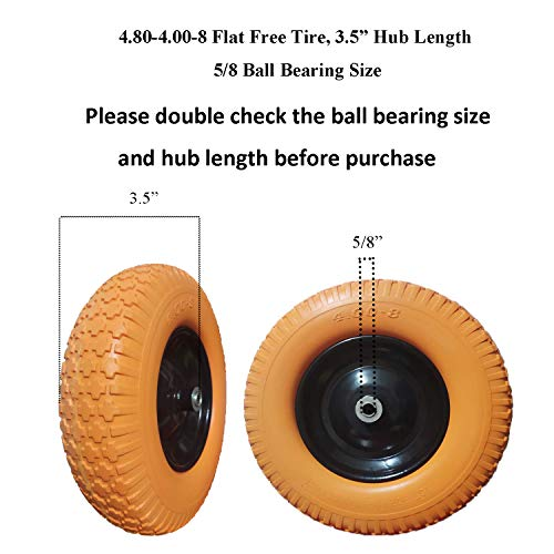 "4.80/4.00-8 Wheelbarrow Tire, 16 inch Flat Free with 5/8"" Bearing Wheel Barrel Tire Foamed Polyurethane for Garden Outdoor Cart Wagon, 3.5"" Hub, Orange (Set of 2)"
