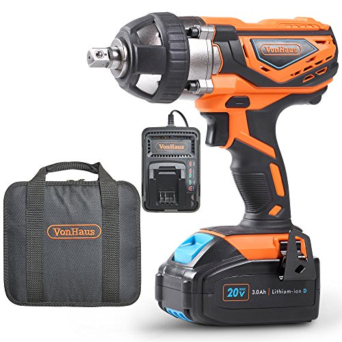 "VonHaus 20V MAX Cordless 1/2"" Impact Wrench Set High Torque with Variable Speed"