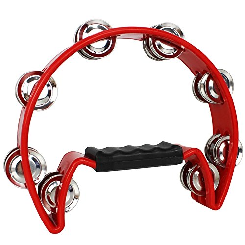 A-Star Half Moon Tambourine, Double Jingle Bell Cutaway with Ergonomic Grip...