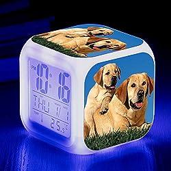 Uzest Dog Alarm Clock for Kids, Novely Creative Cute Animal Mini Digital Alarm Clock for Student, Colorful Alarm Clocks for Bedrooms, Children Gifts/8X8X8cm