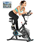 ANCHEER Heimtrainer Fahrrad 120 kg belastbar, Ergometer heimtrainer Fitnessbike mit APP-Anschluss,Unendlicher Widerstand,Herzfrequenz Sensorleiste,leisem Cardio-Training im Fitnessstudio