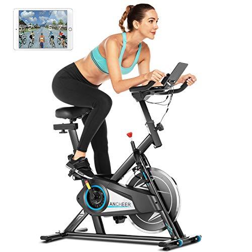 ANCHEER Heimtrainer Fahrrad 120 kg belastbar,Indoor Cycling Fitnessbike mit APP-Anschluss,Unendlicher Widerstand,LCD-Monitor,Herzfrequenz Sensorleiste,leisem Cardio-Training im Fitnessstudio