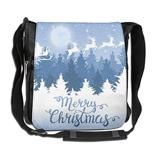 Doinh Kuriertasche mit Weihnachtsmotiv auf einem Schlitten, Leinen, schräg, für Damen und Herren geeignet