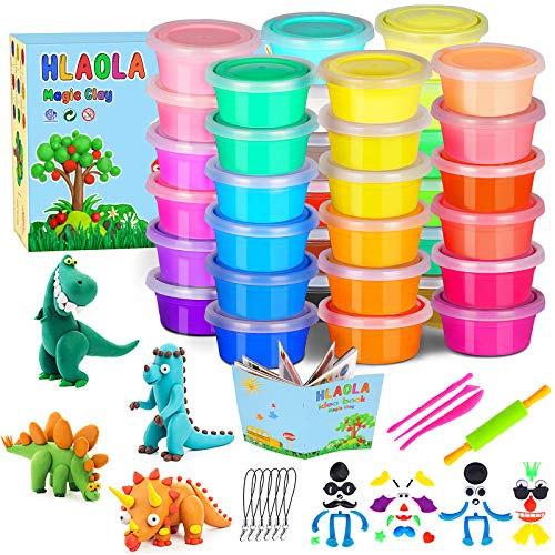 HLAOLA Modeling Clay Kit-36 Colors Modeling Clay for Kids Air Dry Ultra Light Magic Clay Soft & Ultra Light DIY Molding Clay with Sculpting Tools, Kids Art Crafts Gift for Boy & Girl Age 3-12 year old