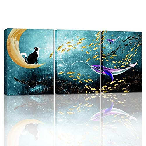 Canvas Wall Art For Living Room Bedroom Decoration Wall Painting,Bathroom Wall Decor Animals Cat And Fish Abstract Pictures Home Decoration Kitchen Posters Artwork,Inspirational Wall Art 3 Piece Set