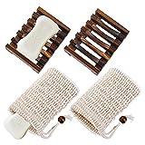 tompig senpusi portasapone, 2 pezzi portasapone in legno con 2 sacchetto di lino, portasapone riutilizzabile con sacchetto di lino ideali per bagno cucina