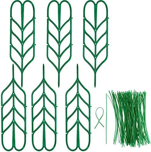 Boao 6 Enrejados de Jardín Mini Enrejados de Plantas Trepadoras Soporte de Planta en Forma de Hoja y 100 Precintos Metálicos Largos para Guisante Vegetal Clematis Vines Planta en Maceta