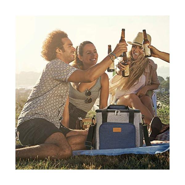 51UIBKMcclL. SS600  - Lifewit 17L Bolsa Térmica Porta Alimentos Bolsa de Compra Reutilizable con 2 Paquetes de Hielo Bolsa de Refrigeración Bolsa de Almuerzo Aislamiento para Aire Libre Senderismo Playa Picnic BBQ Azul