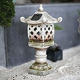 zenggp Pagoda Solar Japonesa Linterna De Jardín Decoración Zen De Patio Arte De Cubierta De Patio De Césped Estatua Al Aire Libre Decoración del Hogar,B+30cm