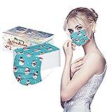 Saingace(TM) 50PC Stück Erwachsene Maske Mundschutz Einweg 3-lagig Atmungsaktiv Face Cover und Nasenschutz Bedeckung Multifunktionstuch Halstuch Halloween, Weihnachten (Blauer Schneemann)