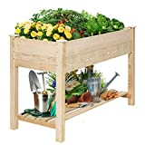 KINGSO Raised Garden Bed 4FT Elevated Wooden Planter Boxes Kit Outdoor with Legs Raised Planter Garden Grow Box with Shelves for Vegetable Flower Herb Backyard Patio Natural