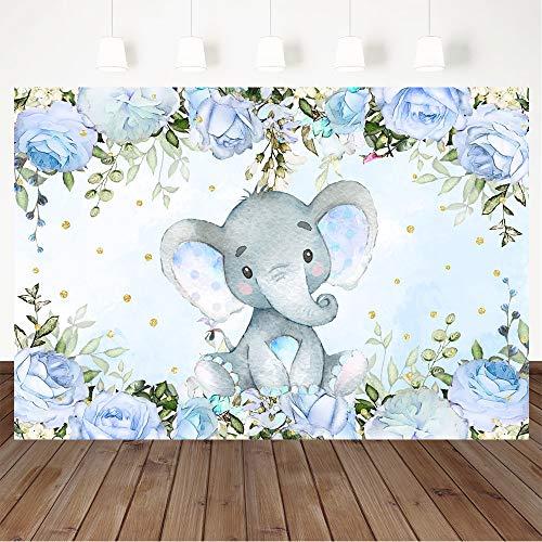Avezano Elephant Boy Baby Shower Backdrop, Blue Floral Elephant Baby Shower Party Decorations Blue Elephant Baby Shower Party Banner Photography Background (7x5ft)