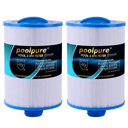 POOLPURE 2 Stück Spa Filter, Whirlpool Filter Ersatz für Unicel 6CH-940, Pleatco PWW50P3, PWW50-P3, Filbur FC-0359, Waterway Plastics 817-0050, 25252, 378902, 03FIL1400 (rechnung vorhanden)