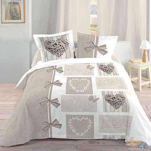 Lovely Casa Housse de Couette, Coton, Blanc, 240x220 cm