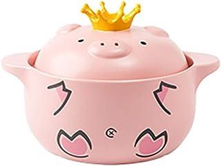 YISUPP Cazuela con Tapa Cerdo Rosado - (Sabor del Amor) Olla De Estofado De Cerámica De Gas para El Hogar - Olla De Cocción Lenta De Cerámica Suministros De Cocina,Pink-2500ml