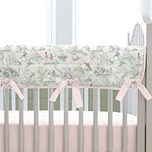 Carousel Designs Pink and Nursery Rhyme Toile Crib Rail Cover with Piping