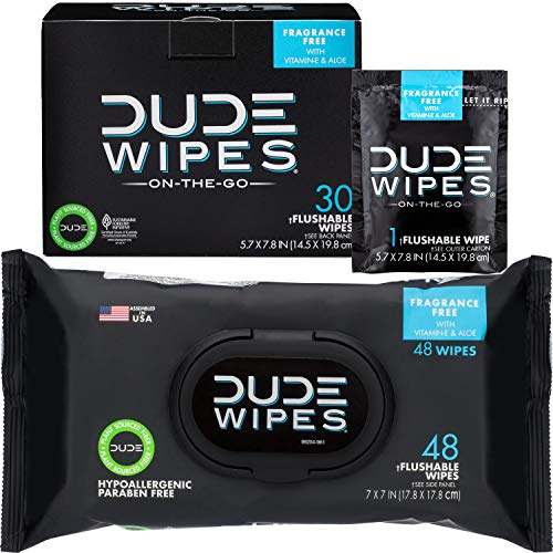 DUDE Wipes Flushable Wipes (48 Count Dispenser and 30 Single Wipes) Individually Wrapped & Dispenser Natural Unscented with Vitamin-E & Aloe