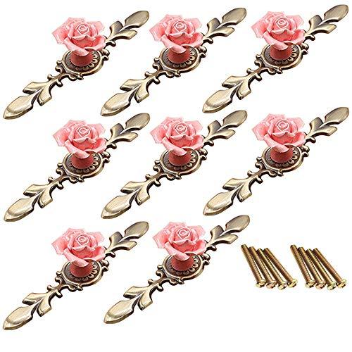 FBSHOP(TM) 8 STKS Vintage Bloemen Rose Vorm Keramische Pull Handvatten Keuken Kast Kast Lade Meubels Dressoir slaapkamers Kledingkast Deurknoppen Met Messing Base